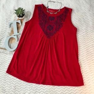 Croft & Barrow Boho Tank Top Red